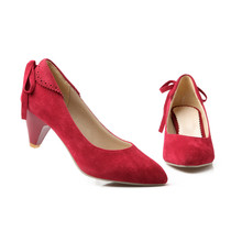 Big size 30-50 new spring and autumn women shoes fashion solid Suede Pointed Toe bowknot decoration high heels HQW-A11