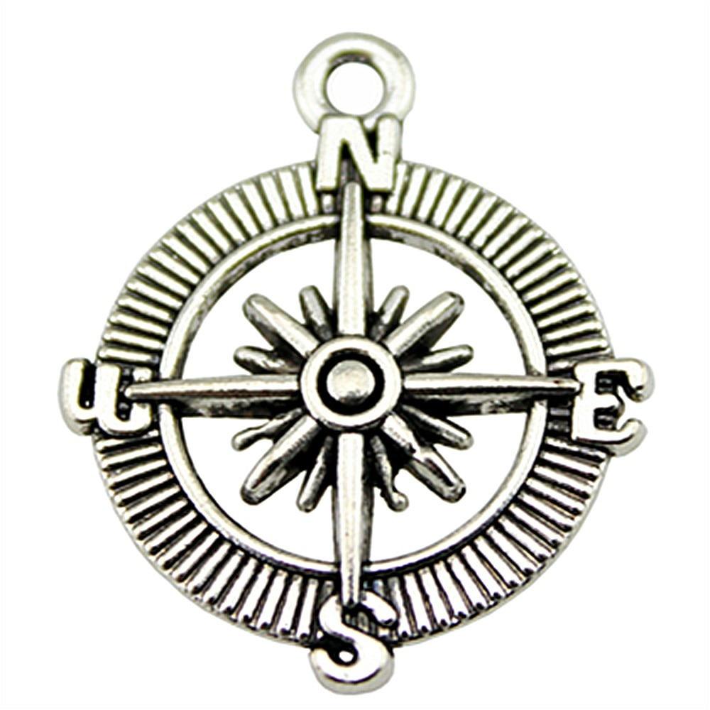 6 Stücke Navigation Kompass Anhänger Charme Für Schmuck Machen Charme Kompass Antike Bronze Antike Silber Kompass Charme 24mm Das Ganze System StäRken Und StäRken
