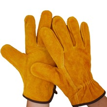A Pair/Set Fireproof Durable Cow Leather Welder Gloves Anti-Heat Work Safety Gloves For Welding Metal Hand Tools Protective