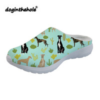 doginthehole Womens Clogs Summer Outdoor Beach Shoes Greyhounds and Cactus Printing Sport Sandals Flat Water Shoes Sea Slippers