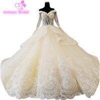2018 Champagne Tulle Wedding Dress Cathedral Train Vestidos De Noiva Bóng Gown Robe De Mariee Grande Taille Mariage Casamento