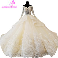 2018 Champagne Tulle Wedding Dress Cathedral Train Vestidos De Noiva Ball Gown Robe De Mariee Grande Taille Mariage Casamento