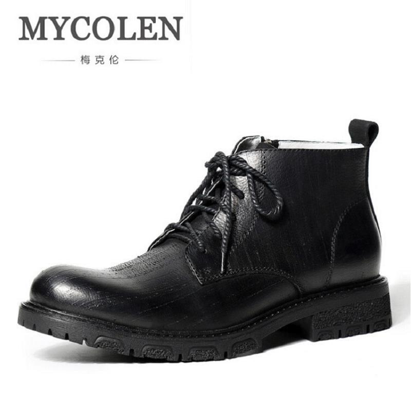 MYCOLEN Brand Handmade Leather Men Motorcycle Boots Winter New Lace Up Men Ankle Boots Comfortable Side Zipper Men Boots