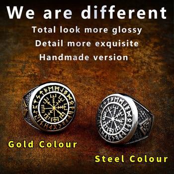Beier 316L Stainless Steel Nordic Viking Ring Custom Rune beads Signet wolf Scandinavn Odin Symbol fashion Men Jewelry LR522 1