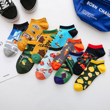 Jhouson 1 pair Colorful Women Mens Cotton Ankle Funny Socks Watermelon Crayfish Pattern Novelty Casual Matching Boat