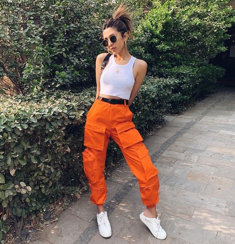 High Waist Zipper Cargo Pocket Loose Jogger Pant Orange Black Blue Harajuku Streetwear Korean Women Workout Fashion Trouser Punk