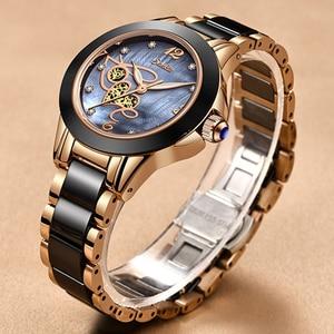 Image 2 - SUNKTA montre strass pour femmes, montre de luxe, Rose or, noir, étanche en céramique, série classique pour dames