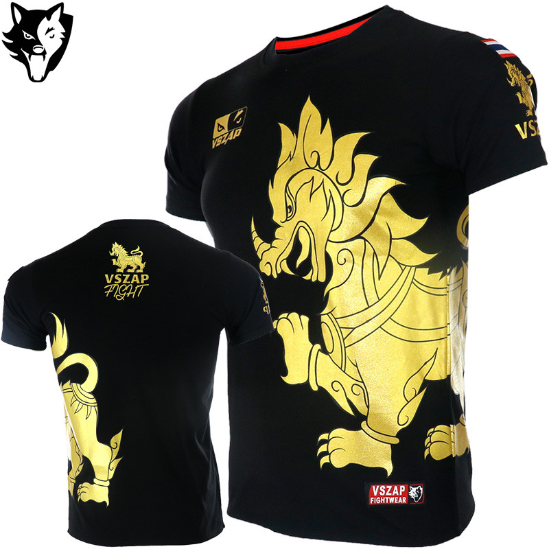 VSZAP Golden Boxing T Shirt Men MMA Gym Kickboxing Muay Thai Boxing Training Cotton Breathable Comfortable Mma Shorts Fight Pant