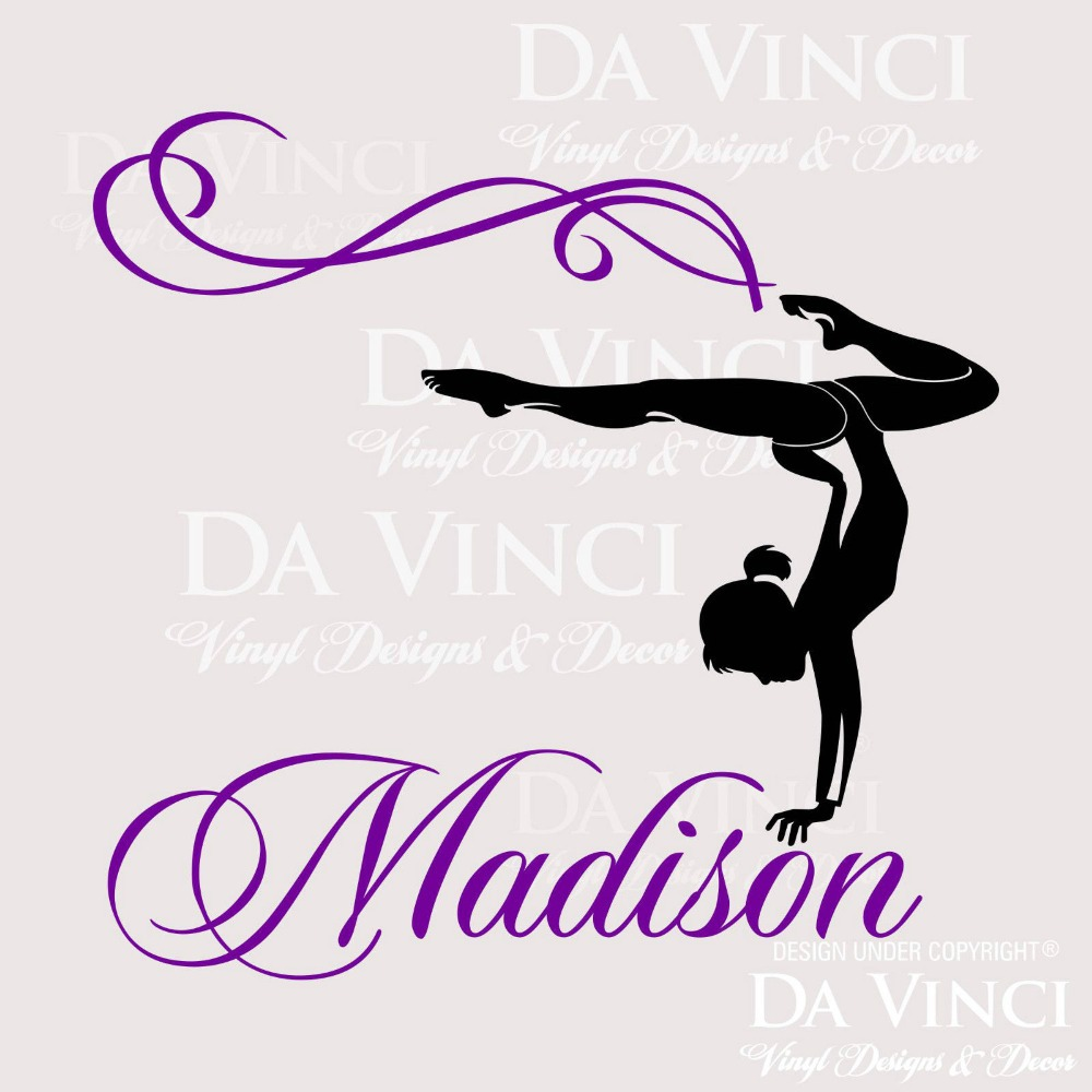 Personalized Girl Name Gymnast Gymnastics Dance Vinyl Wall Decal Sticker Room In Stickers From Home Garden