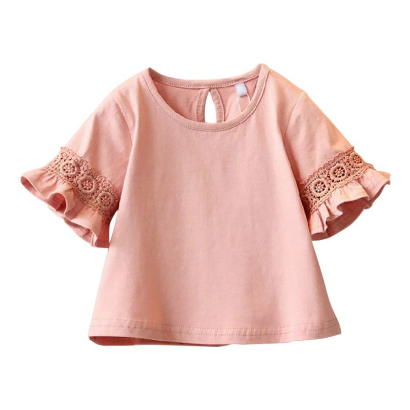 Hot Sale New Spring Summer Kids girls Cloths Princess Lace Half sleeve children t shirts baby t-shirt