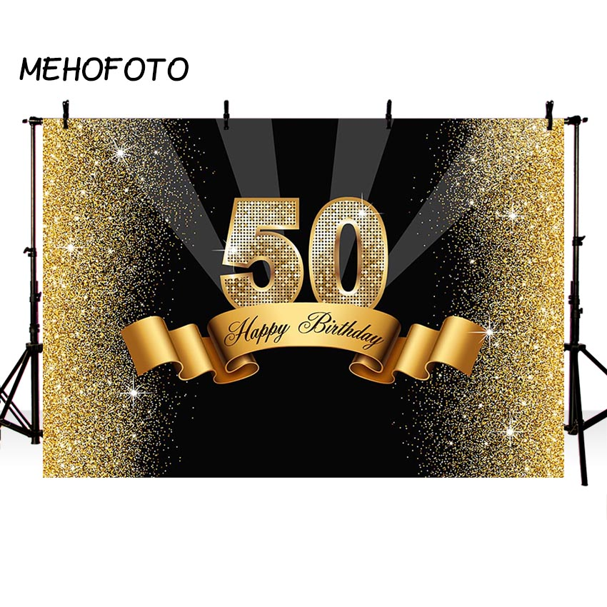 MEHOFOTO <font><b>Happy</b></font> <font><b>50th</b></font> <font><b>Birthday</b></font> <font><b>Backdrops</b></font> Photography Black Gold Fifty <font><b>Birthday</b></font> Party Custom Background for Photobooth Studio image