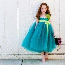 Висока Couture Елегантний Лук Дітей Краса Сторінка Flowergirls Пром плаття Діти Дівчата Для Весільного Лайма Зелена квітка Дівчата Плаття