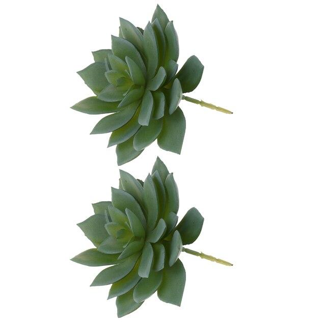 2 Pieces Artificial Succulents Plants Echeveria Desk Flowers Lotus Photo Props