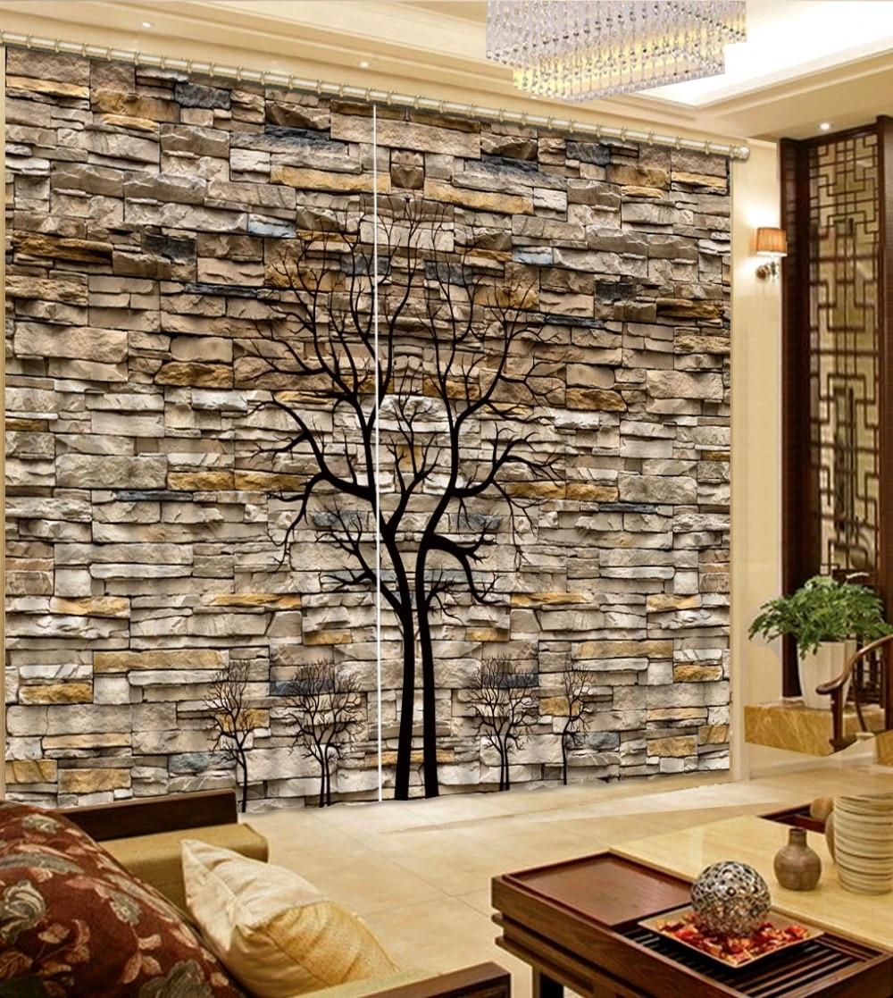 Big Tree Curtains Fashion Decor Home Decoration For Bedroom Living Room Curtain Brick Curtain Home Decor Living Room Natural Art Curtain Home Custom Curtainscurtains Custom Aliexpress