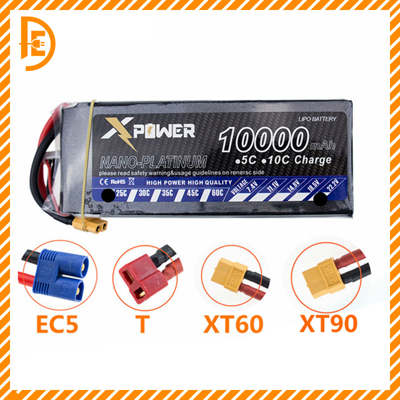 RC LiPo Battery 4S 14.8 V 10000 mAh 25C for RC Airplane Helicopter Drone Car Boat 4s Batteria Free Shipping mos 4s 14 8v 5200 25c lipo battery for rc airplane free shipping