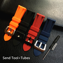 MERJUST 22mm 24mm 26mm Black Orange Blue Red Silicone Rubber Whatchband For Panerai PAM111 Watch Strap Bracelet with engraving все цены