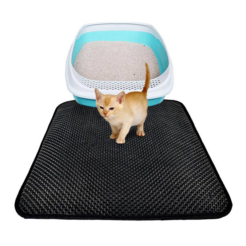 Katzenstreu Matte EVA Doppel-Schicht Katzenstreu Trapper Matten mit Wasserdichte Untere Schicht + Hundesalon Handschuhe