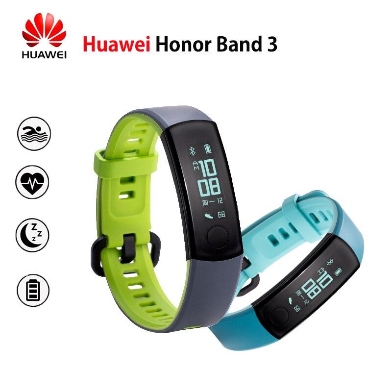 Huawei Honor Banda 3 pulsera inteligente de ritmo cardíaco en tiempo Real monitoreo 5ATM impermeable para la natación Fitness Tracker para Android iOS