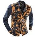 Marca Floral homens camisa Patchwork de manga comprida Casual Slim Fit camisa masculina Social dos homens blusa homem XXL