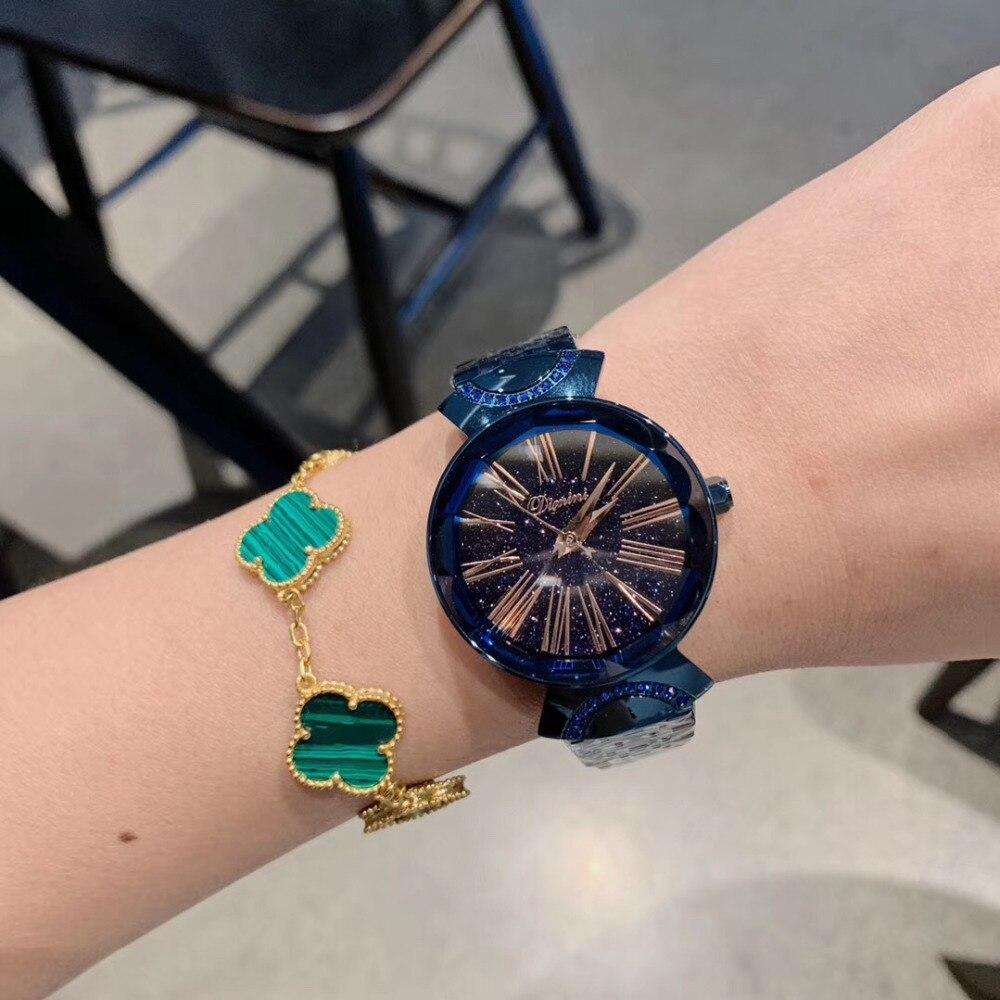Noble Anti décoloration bleu Bracelet montres pour femmes mode montre-Bracelet en acier complet Vintage numéro romain robe montre à facettes verre