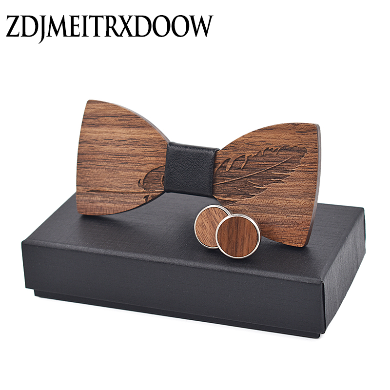 New 2018 Classic feather noble Wood Bow Ties for Mens Wedding Suits Wooden Bow Tie Butterfly Shape Bowknots