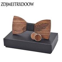 Nowy 2018 klasyczne pióro szlachetne drewno łuk krawaty dla mężczyzn garnitury ślubne muszka drewniana kształt motyla Bowknots w Męskie krawaty i poszetki od Dodatki do odzieży na