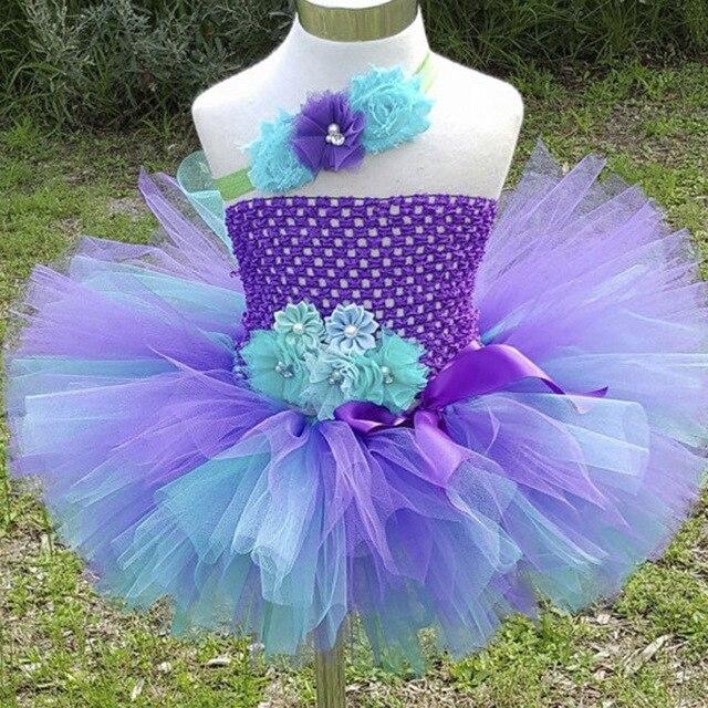 692c776a37a99 Jolies filles Peocock Crochet Tutu robe enfants à la main 2 couches  moelleux Tulle fête Tutus