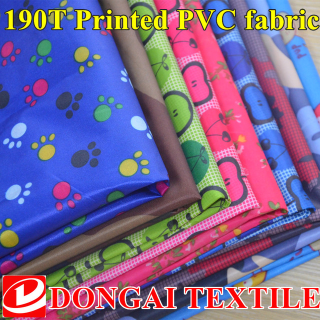 78c310a29e1 100cm 150cm 190T printed Taffeta pvc waterproof fabric Aprons cloth Raincoat  fabric for tablecloth