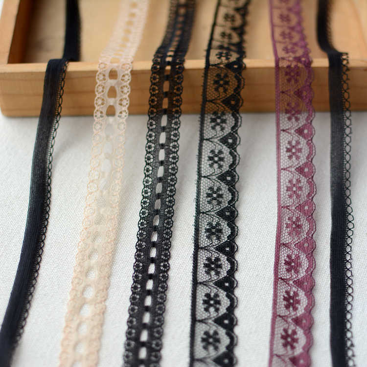 1M Embroidery Tulle Lace Fabric Black Lace Ribbon Beige Laces Trimmings For Sewing Clothing Wedding Collar encajes dentelle LA17