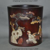 Ремесла статуя Китайский Huanghuali Деревянный Декор Оболочки Шушан Камень Старый нефрита Кисть Пот карандаш ваза