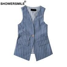 SHOWERSMILE Blue Suit Vest Women Stripe Cotton Waistcoat Ladies Slim Fit OL Sleeveless Jacket One Button Pockets Autumn Clothing