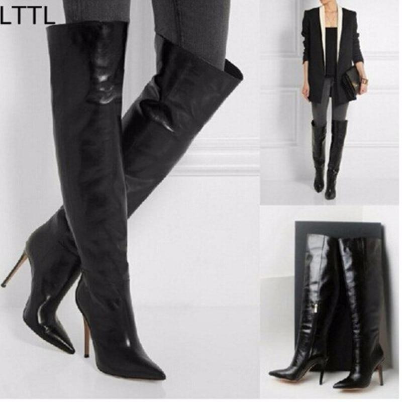 Online Get Cheap Leather Thigh High Stiletto Boots -Aliexpress.com ...