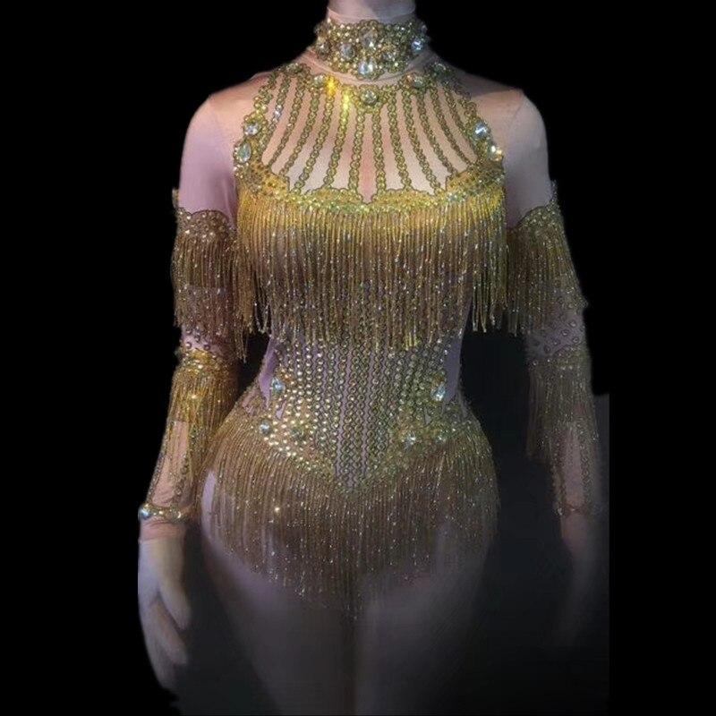 Sexy scène frange brillant or strass gland robe scène Costume femmes chanteuse danse manches longues Gogo danse Costumes