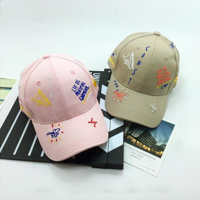 Оптовая Реального Casquettes 2016 Летний Новый Корея Ulzzang Harajuku Для Граффити Snapback Шляпы И Модные Бейсболки Вышивка