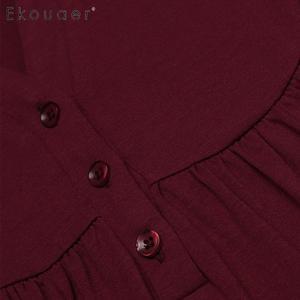 Image 5 - Ekouaer Nachthemd Frauen Nachtwäsche Nacht Kleid Oansatz Taste Vorne Lose Feste Volle Länge Reich Taille Nachthemd Weibliche Kleidung