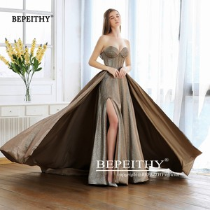 Image 3 - New Fashion 2020 Sweetheart A line Long Evening Dress With Train Robe De Soiree Sexy High Slit Glitter Gold Prom Party Gown
