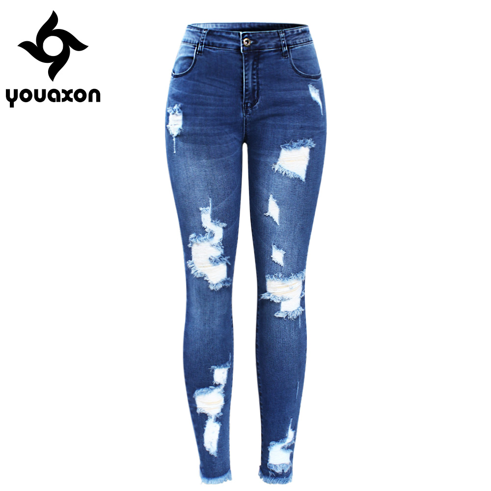2127 Youaxon New Ultra Stretchy Blue Tassel Ripped Jeans Woman Denim Pants Trousers For Women Pencil Skinny Jeans joelheira magnética alívio