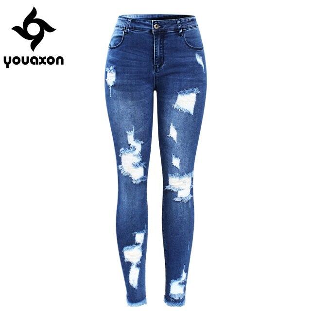2127 Youaxon Nuovo Ultra Elastico Blu Nappa Strappato Jeans Donna Denim Pantaloni Pantaloni Per Le Donne Della Matita Jeans Skinny