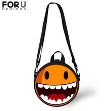 FORUDESIGNS emoji Smile Messenger Shoulder Bag for Women Kids Circular Crossbody Teenager Girls Boys Satchel 2019