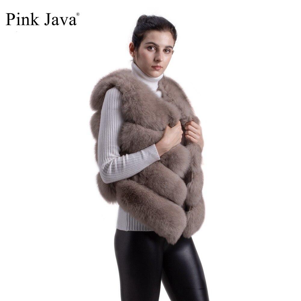 Rosa java QC8005 Nuova vendita calda di arrivo naturale reale della pelliccia di fox vest gilet per le donne delle ragazze di TRASPORTO LIBERO-in Pellicce vere da Abbigliamento da donna su  Gruppo 1