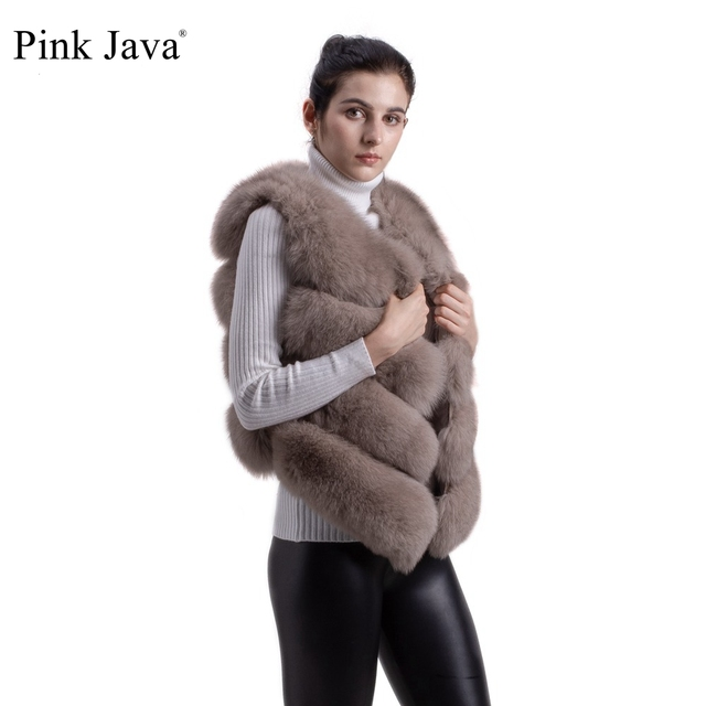 pink java QC8005 New arrival hot sale natural real fox fur vest gilet for  women girls FREE SHIPPING 388feb4e7c72