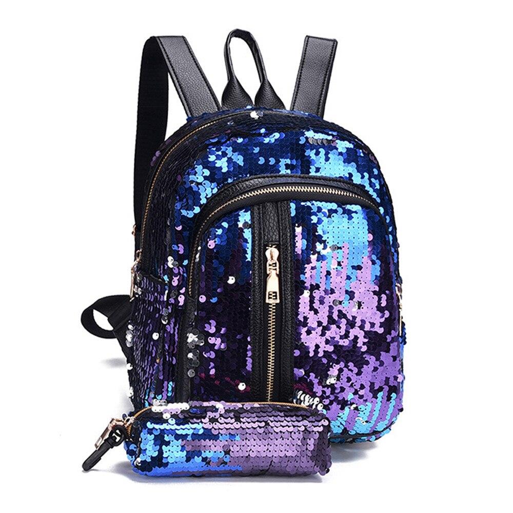 2 Teile/satz Mode Mädchen Pailletten Schule Tasche Reise Schulter Tasche + Kupplung Pu Femal Schulter Taschen Mode Adrette Borsa Eine Tracoll