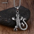 Mprainbow Chic Fashion Women Men Gecko Lizard Pendant Stainless Steel Chain Necklaces Jewellery Gifts