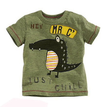 Little Maven New Boys  Summer Fashion Crocodile Letters Short O-neck Brand Cotton Quality Knitted Children Tshirt