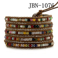 New vintage style weaving leather cute men jewelry mix stone and chain bead handmade bracelet for women adjusted size JBN-1076