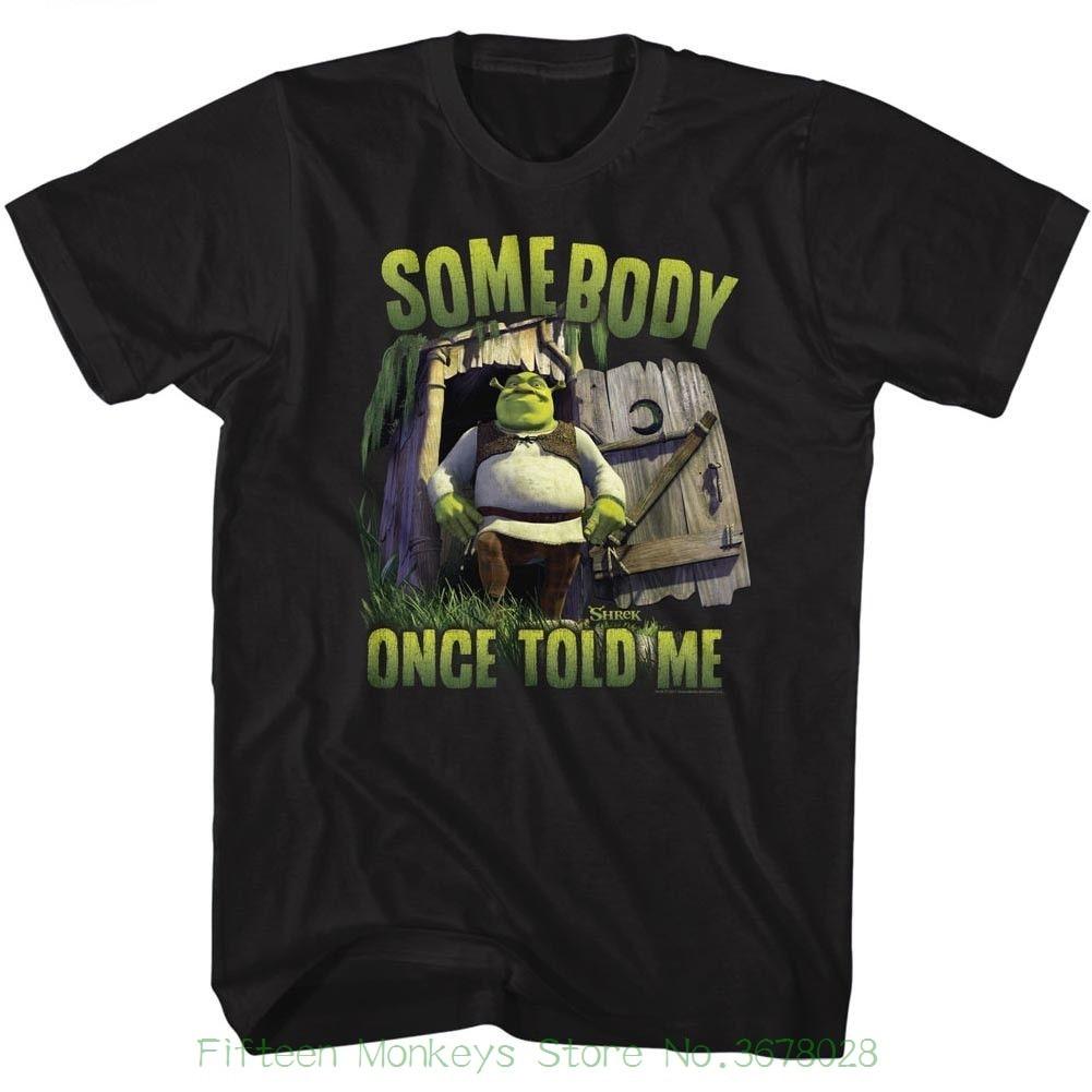 New Short Sleeve Round Collar Mens T Shirts Fashion 2018 Shrek Somebody Black Adult Short Sleeve T Shirt
