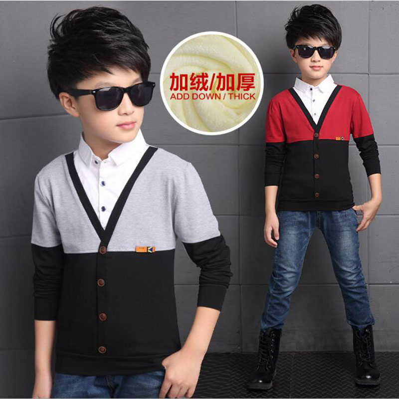 New Winter baby boys t shirt woolen joint stripe fashion children long sleeve base shirt warmth