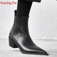 Krazing pot/из кожи с натуральным лицевым покрытием Ботинки Челси на толстом среднем каблуке Брендовая женская обувь высокого качества в сдержа...