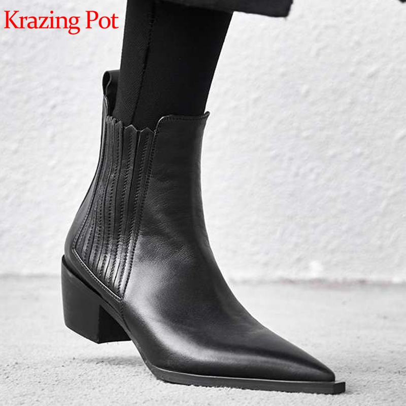 Krazing pot pełne ziarna skórzane buty Chelsea grube med heel marka kobiety wysokiej jakości zwięzłe biuro projektowe lady botki l09 w Buty do kostki od Buty na  Grupa 1