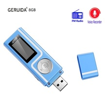 GERUIDA Mp3 Player 8gb Memory Download Music Free Mp3 Player Faster Charge Usb FM Radio Lecteur Mp3 Player with OTG Lanyard